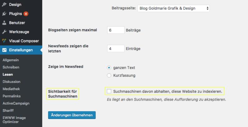 Wordpress Sichtbarkeit