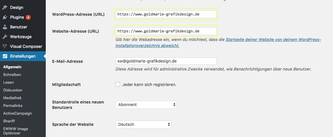 Wordpress Adresse