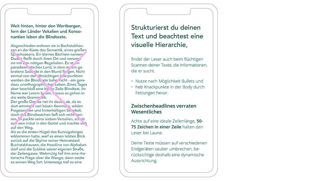 Landingpage gestalten: Text-Struktur beachten
