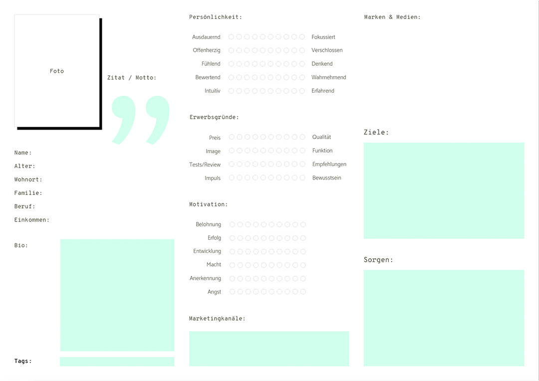 User Persona erstellen: Arbeitsblatt Übersicht