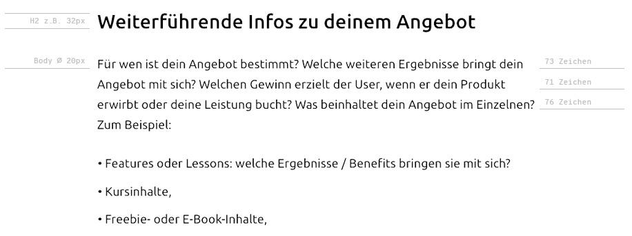 Landingpage gestalten: Zeichengroesse & Zeilenlaenge